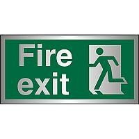 Brushed Alu Sign 300x150 1.5mm S/A Fire Exit - Man Running Left