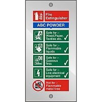 Clear Acrylic Sign 100x200 5mm Fire Extinguisher ABC Powder