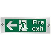 Clear Sign 300x100 5mm Fire Exit Man Running & Arrow Pointing Left