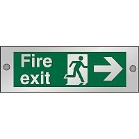 Clear Sign 300x100 5mmFire Exit Man Running & Arrow Pointing Right