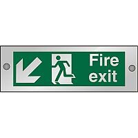 Clear Sign 300x100 5mm Fire Exit Man Running Arrow Pointing Down Left