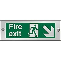 Clear Sign 300x100 5mm Fire Exit Man Running Arrow Pointing Down Right