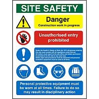 Construction Safety Board 600x800 Site Safety Sign 3mm Foam PVC Safety