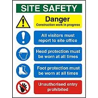 Construction Safety Board 600x800 Site Safety Sign 4mm Fluted Board Safety