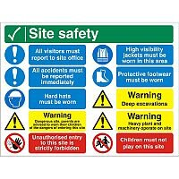 Construction Safety Board 800x600 Site Safety Sign 4mm Fluted Board Safety