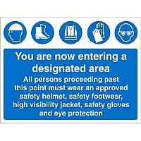 Construction Board Safety Sign 4mm Fluted Entering Designated Area