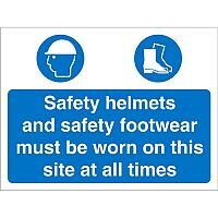 Construction Safety Sign 600x450 4mm Safety Helmets & Shoes Must Be Worn Ref CON011Cx600x450