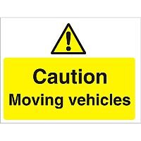 Construction Board 600x450 Safety Sign 4mm Fluted Caution Moving Vehicles