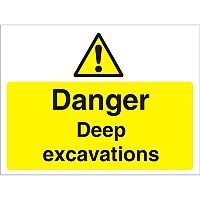 Construction Board 600x450 Safety Sign 4mm Fluted Danger Deep Excavations