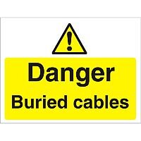 Construction Board 600x450 Safety Sign 4mm Fluted Danger Buried Cables