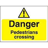 Construction Board 600x450 Safety Sign 4mm Danger Pedestrians Crossing