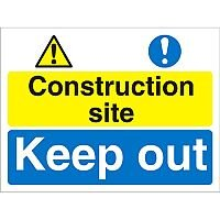 Construction Boar Safety Sign 4mm Fluted Construction Site Keep Out Ref CON027Cx600x450
