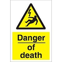 Construction Board 400x600 Safety Sign 3mm Foam PVC Danger of Death