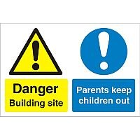 Construction Board Safety Sign 600x450 3mm Building Site Keep Children Out Ref CON049FB600x450