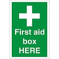 Construction Board 400x600 Safety Sign 4mm Fluted First Aid Box Here