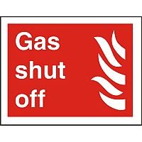Photolum Fire Fighting Sign 200x300 Gas Shut Off Self Adhesive Vinyl