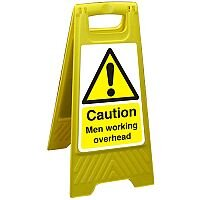 Free Standing Sign 300x600 Poly Caution Men Working Overhead Ref FSS001300x600