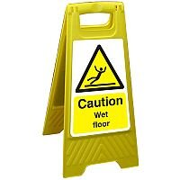 Free Standing Floor Sign 300x600 Poly Caution Wet Floor Ref FSS004300x600