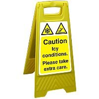 Free Standing Floor Sign 300x600 Poly Caution Icy Conditions Ref FSS016300x600