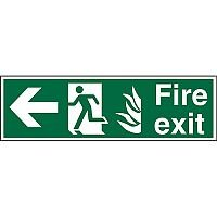 NHS Sign 600x200 1mm Fire Exit Man Running & Arrow Pointing Left