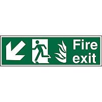 NHS Sign 600x200 1mm Fire Exit Man Running Arrow Pointing Down Left