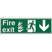 NHS Sign 600x200 1mm Fire Exit  Man Running Right & Arrow Pointing Down