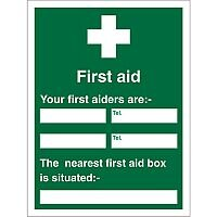 First Aid Sign 450x600 1mm First Aiders (Name & Location)