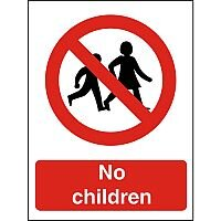 Prohibition Sign 300x400 1mm Semi Rigid Plastic No children