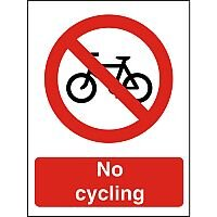 Prohibition Sign 300x400 1mm Semi Rigid Plastic No Cycling