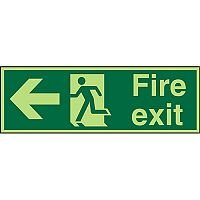 Photolum Sign 2mm 300x100 Fire Exit  Man Running & Arrow Pointing Left