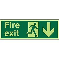 Photolum Sign 2mm 300x100 Fire Exit Man Running Right & Arrow Pointing Down
