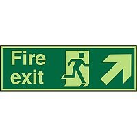 Photolum Sign 2mm 300x100 Fire Exit Man Running Arrow Pointing Up Right