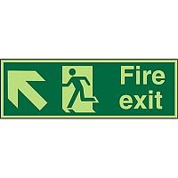 Photolum Sign 2mm 450x150 Fire Exit Man Running Arrow Pointing Up Left