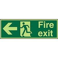 Photolum Sign 600x200 Fire Exit  Man Running & Arrow Pointing Left Self Adhesive Vinyl