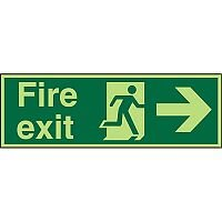Photolum Sign 450x150 1mm Fire Exit Man Running & Arrow Pointing Right