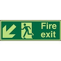 Photolum Signs 600x200 Fire Exit  Man Running Arrow Pointing Down Left Self Adhesive Vinyl