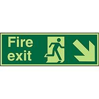 Photolum Sign 600x200 Fire Exit Man Running Arrow Pointing Down Right Self Ahesive Vinyl