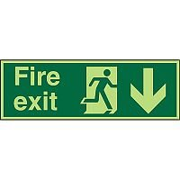 Photolum Sign Fire Exit Man Running Right & Arrow Pointing Down Self Adhesive