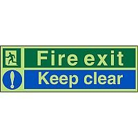 Photolum Sign 450x150 Fire Exit Keep Clear Self Adhesive Vinyl