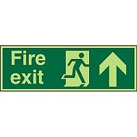 Photolum Sign 600x200 Fire Exit Man Running Right & Arrow Pointing Up Self Adhesive Vinyl