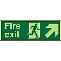 Photolum Sign 600x200 Fire Exit Man Running Arrow Pointing Up Right