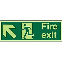 Photolum Signs 600x200 S/A Fire Exit Man Running Arrow Pointing Up Left Self Adhesive Vinyl