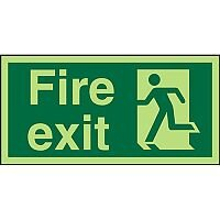 Photolu Sign 300x150 1mm Plastic Fire Exit Man Running Left