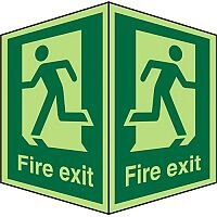 Photolum Signs 2 Faces Fire Exit Man Running Different Directions on Each Face