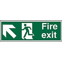 Safe Sign 600x200 1mm Fire Exit - Man Running Arrow Pointing Up Left