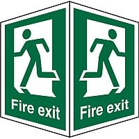 Safe Sign 200x300 Fire Exit Man Running Different Directions on Each Face