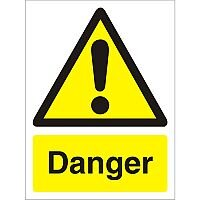 Warning Sign 300x400 1mm Semi Rigid Plastic Danger