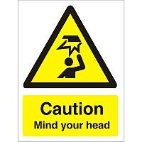 Warning Sign 300x400 1mm Plastic Caution - Mind Your Head