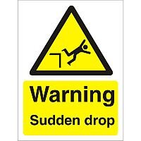 Warning Sign 300x400 1mm Plastic Warning - Sudden Drop