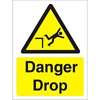 Warning Sign 300x400 1mm Semi Rigid Plastic Danger Drop